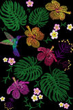 Tropical embroidery flower arrangement. Exotic plant blossom summer jungle. Fashion print textile patch. Hawaii hibiscus plumeria. Monstera hummingbird seamless Royalty Free Stock Image