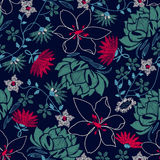 Tropical embroidery lush floral design in a seamless pattern.  Stock Photography