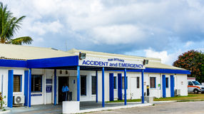 Tropical Emergency Room. Accident and Emergency Room at the Princess Alexandra Hospital in the Caribbean island of Anguilla Royalty Free Stock Image