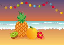 Tropical evening at the beach. Summer tropical fruit illustration. Vector illustration of summer paradise Royalty Free Stock Photography