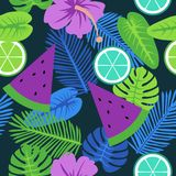 Tropical Evening Summertime Pattern royalty free illustration