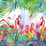 Tropical exotic bird, leaves and flowers. Watercolor summer floral background