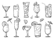 Tropical exotic cocktails, doodle style Stock Photos