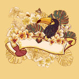 Tropical Exotic Floral Card with Toucan Royalty Free Stock Photos