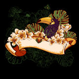 Tropical Exotic Floral Card with Toucan Royalty Free Stock Photo