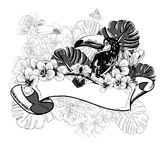 Tropical Exotic Floral Card with Toucan Stock Images