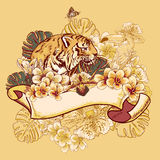 Tropical Exotic Floral Card with Toucan and Tiger Royalty Free Stock Photo