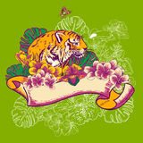 Tropical Exotic Floral Card with Toucan and Tiger Royalty Free Stock Images