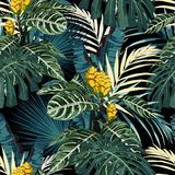 Tropical exotic floral green and blue monstera palm leaves seamless pattern, yellow flowers. Exotic jungle wallpaper on black background vector illustration