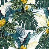 Tropical exotic floral green and blue monstera palm leaves seamless pattern, yellow flowers. Exotic jungle wallpaper on white background vector illustration