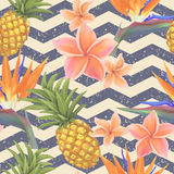 Tropical exotic flowers and pineapple seamless stock illustration