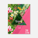 Tropical Exotic Flowers Summer Graphic Background, Exotic Floral Banner or Card Royalty Free Stock Image