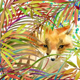 Tropical exotic forest, fox, green leaves, wildlife, watercolor illustration. Royalty Free Stock Photos