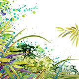 Tropical exotic forest, green leaves, wildlife, crocodile Alligator, watercolor illustration. watercolor background unusual exotic Royalty Free Stock Photography
