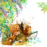 Tropical exotic forest, green leaves, wildlife, deer, watercolor illustration. watercolor background unusual exotic nature Royalty Free Stock Image