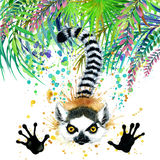 Tropical exotic forest, green leaves, wildlife, lemur, watercolor illustration. watercolor background unusual exotic nature Stock Photos
