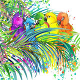 Tropical exotic forest, green leaves, wildlife, parrot bird, watercolor illustration. watercolor background unusual exotic nature