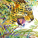Tropical exotic forest, jaguar, green leaves, wildlife, watercolor illustration. Royalty Free Stock Photos