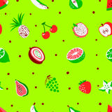 Tropical exotic fruits seamless pattern. Royalty Free Stock Photos
