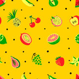 Tropical exotic fruits seamless pattern. Cute fresh organic frui Stock Photography