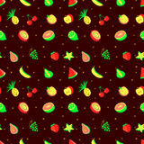 Tropical exotic fruits seamless pattern. Cute fresh organic frui Stock Photos