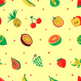 Tropical exotic fruits seamless pattern. Cute fresh organic frui Royalty Free Stock Photos