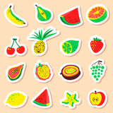 Tropical exotic fruits stickers set. Cute fresh organic fruits l Stock Photography