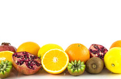 Tropical exotic fruits on white backgrounde Royalty Free Stock Images