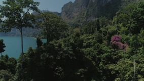 Tropical Thai jungle lake Cheo lan drone flight, wild mountains nature national park ship yacht rocks. Tropical exotic green wild mountains sinset jungles drone stock video