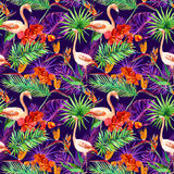 Tropical exotic leaves, orchid flowers, neon light. Seamless pattern. Watercolor Stock Image