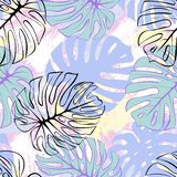 Tropical exotic monstera palm leaves seamless pattern. Exotic jungle backgound. stock illustration