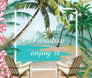 Tropical Exotic Paradise Beach. Summer Beach with Palm trees and flowers. Vector background card Royalty Free Stock Image