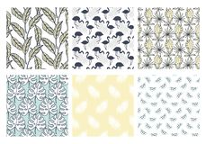 Tropical exotic seamless patterns collection. Set of hawaiian plants, palm leaves, flamingo hand drawn doodles. Good for wallpaper, invitation cards, textile stock illustration