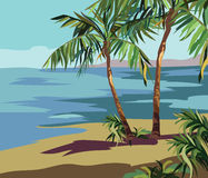 Tropical Exotic Summer Beach with Palm trees and flowers. Vector background card Stock Image