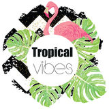 Tropical exotic summer print with palm leaves and flamingo Stock Photography