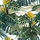 Tropical exotic tender lovely yellow flowers, palm monstera leaves, green floral summer seamless pattern. Tropical exotic tender lovely yellow flowers, palm vector illustration