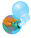 Tropical fantasy colorful fish with bubbles Royalty Free Stock Image