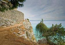 On the tropical farm. View of the sea from the farm on the island of Lefkada Stock Photos