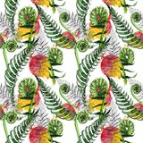 Tropical fern leaves pattern in a watercolor style. Royalty Free Stock Photo