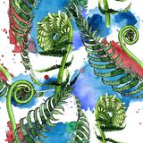 Tropical fern leaves pattern in a watercolor style. Stock Photography