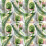 Tropical fern leaves pattern in a watercolor style. Aquarelle wild flower for background, texture, wrapper pattern, frame or border Royalty Free Stock Photography