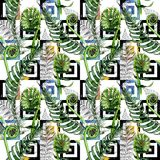 Tropical fern leaves pattern in a watercolor style. Stock Images