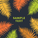 Tropical Fern Leaves in warm autumn colors frame Royalty Free Stock Photo