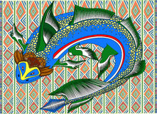 Tropical fish. Multi colored fish in the African pattern royalty free illustration