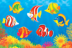 Tropical fish above a coral reef. Clipart illustration of an underwater scene of colorful tropical fish swimming above a coral reef in a tropical sea Stock Image