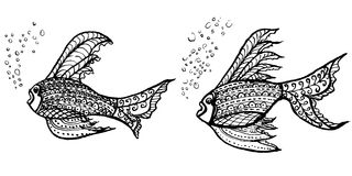 Tropical fish. brush stroke. Royalty Free Stock Images