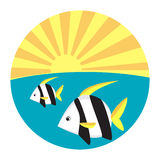 Tropical fish flat icon. Vector illustration Royalty Free Stock Images