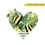 Tropical Fish and Flowers with Leaves Banner. Exotic Background. Tropical Fish and Flowers with Leaves Banner. Vector Exotic Background Stock Images