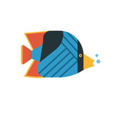 Tropical Fish Icon. Tropical marine fish vector icon. Striped colorful butterflyfish illustration. Coral fish illustration Royalty Free Stock Images