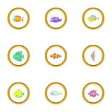 Tropical fish icons set, cartoon style Stock Photos